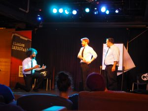The Mission IMPROVable agent Trail Mix, Pepper Jack, Sugar Bear and Aerospace performed for students on March 5.