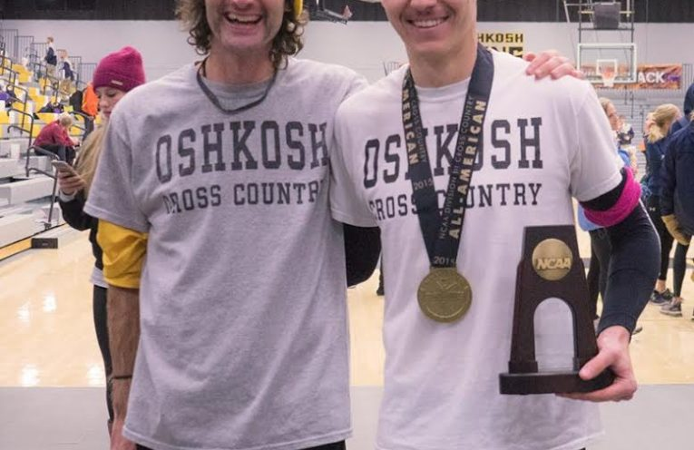 Runner Jordan Carpenter, right, poses with head coach Eamon McKenna after winning the 2015 All-American.