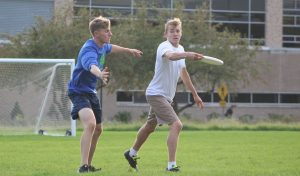 Drew Hildenbrand attempts to block Jason Hataj's frisbee throw. 5F allows you to match with people with similar interests.