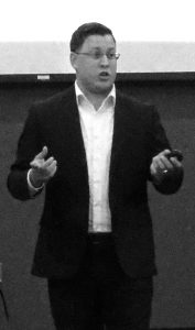 UWO graduate Staush Gruszynski spoke to students on Monday. Gruszynski told students to get involved politically.