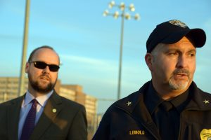 Chancellor Andrew Leavitt and UPD Chief Kurt Liebold look over campus while hearing concerns during the safety walk.
