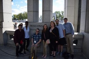 A-T staff takes a break from the conference to take in the World War Two memorial.