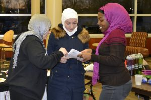 The Women's Center provides pamphlets with information about health and sports, and women from a local Muslim faith community brought hijabs to give UWO women the experience of wearing one.