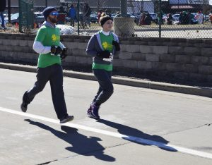 Layers were essential in the frigid morning temperatures during Saturday's annual Shamrock Shuffle 5k walk/run.