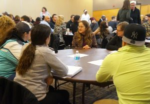LGBTQ Resource Center Director Liz Cannon leads a round-table discussion regarding current issues facing Muslim members of the UWO campus community. The discussions were a part of Monday night's Town Hall Meeting.