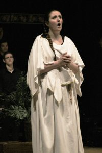 Gabrielle Hass (as Dido) sings in UWO's opera performance on Saturday.