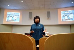 Cheryl Brown Henderson discusses how, instead of celebrating civil rights movement anniversaries, Americans are still fighting for civil rights. Henderson's presentation on Tuesday explained the unexpected consequences that came from Brown v. Board of Education.