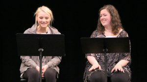 "Anna Schiferl, as Amber, and Sara Neumann, as Karen and Beth, read Hannah Clark's play ""Icarus."""