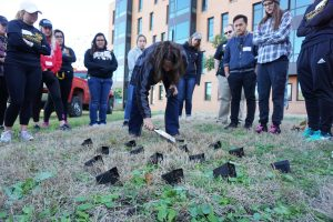 UWO Grounds and Automotive Supervisor Lisa Mick demonstrates to volunteers where to plant new plants outside of the Horizon Village.