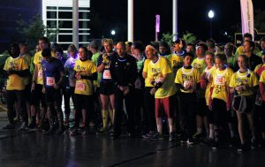 Runners prepare at the starting line to participate in the 5K.