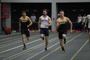 UWO sprinters race against Concordia University of Wisconsin in their first indoor track meet of the season at Kolf. Both the men's and the women's team placed first out of the seven teams that competed on Saturday at UWO.
