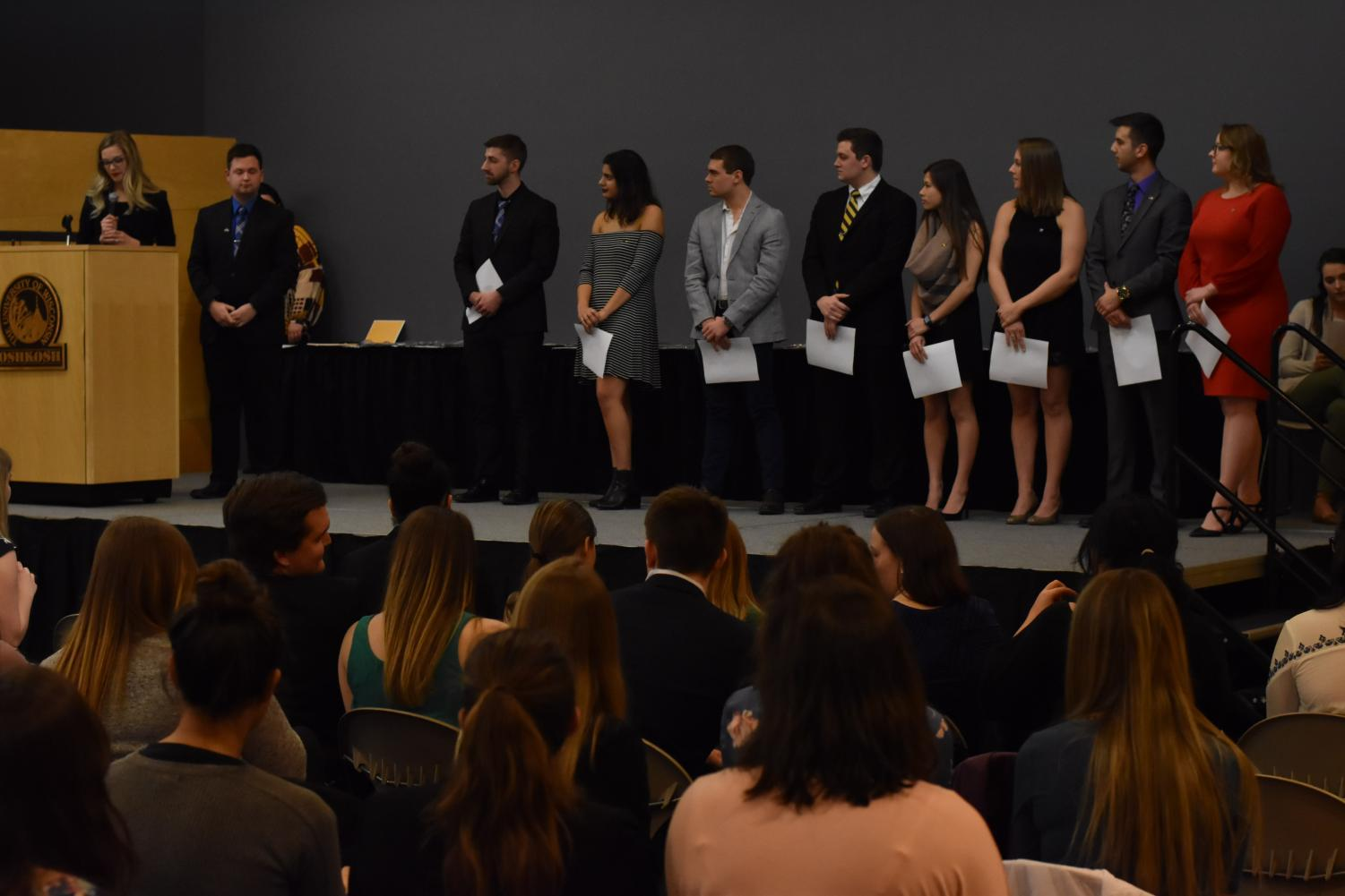 Members of UWO fraternities and sororities celebrate their accomplishments from the 2016-17 school year.