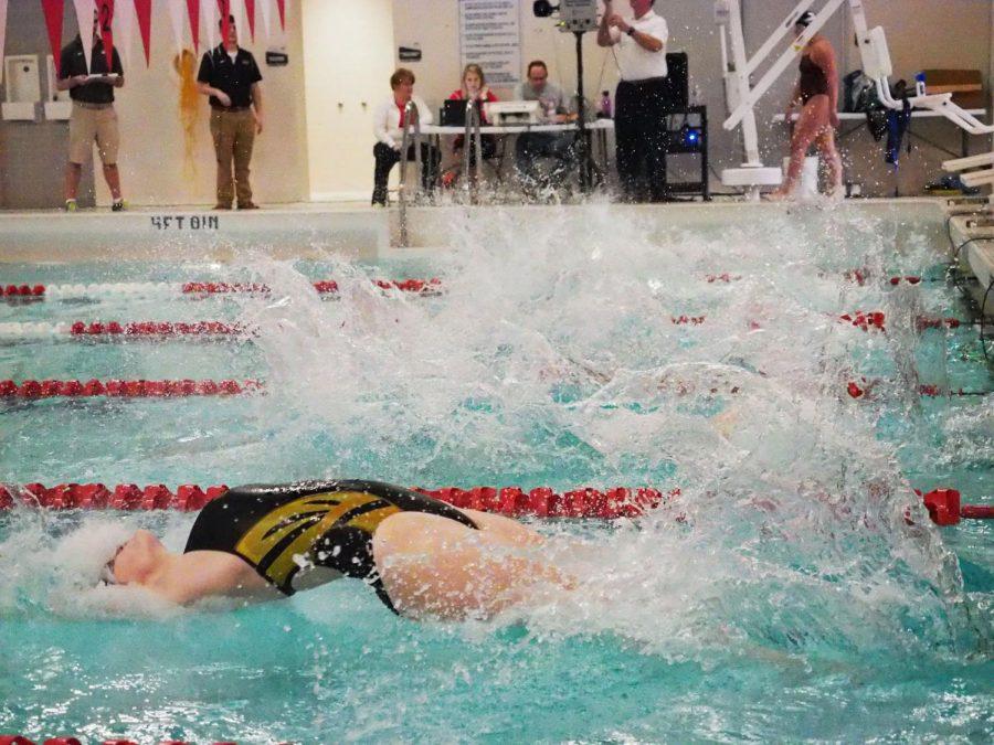 A female UWO swimmer launches into the backstroke.