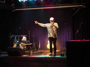 Zachary Mayer performs at UW Oshkosh Local live music night as a solo pop artist