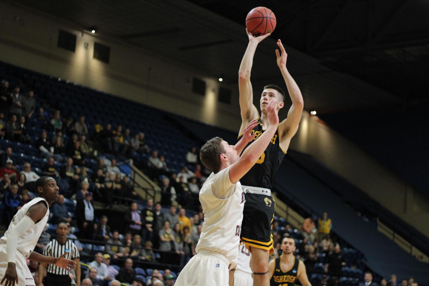 Sophomore forward Adam Fravert takes a jump shot in the first half against Ramapo College.