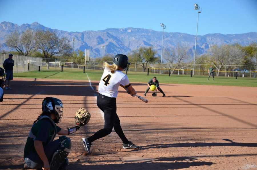 UWO+senior+outfielder+Brianna+Witter+drills+a+ball+back+the+other+way+during+the+National+Fastpitch+Coaches+Association+Leadoff+Classic+in+Tempe%2C+Arizona+over+the+weekend.+So+far%2C+the+team%E2%80%99s+record+stands+at+7-3%2C+with+five+mercy-rule+victories.++