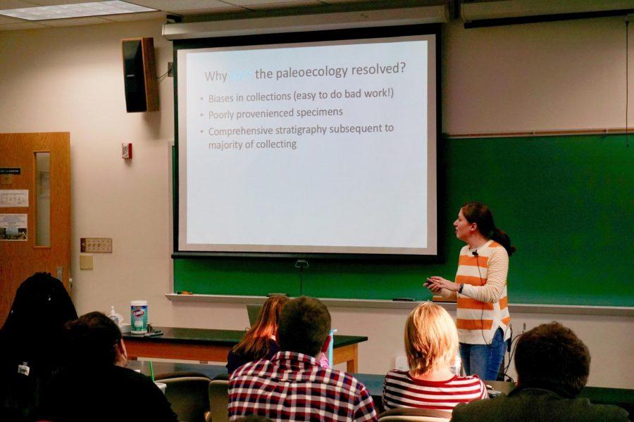 Lauren+Michel+speaks+in+Harrington+Hall+to+UWO+students+on+Thursday.