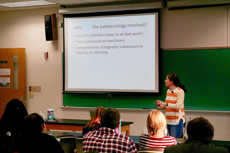 Lauren Michel speaks in Harrington Hall to UWO students on Thursday.