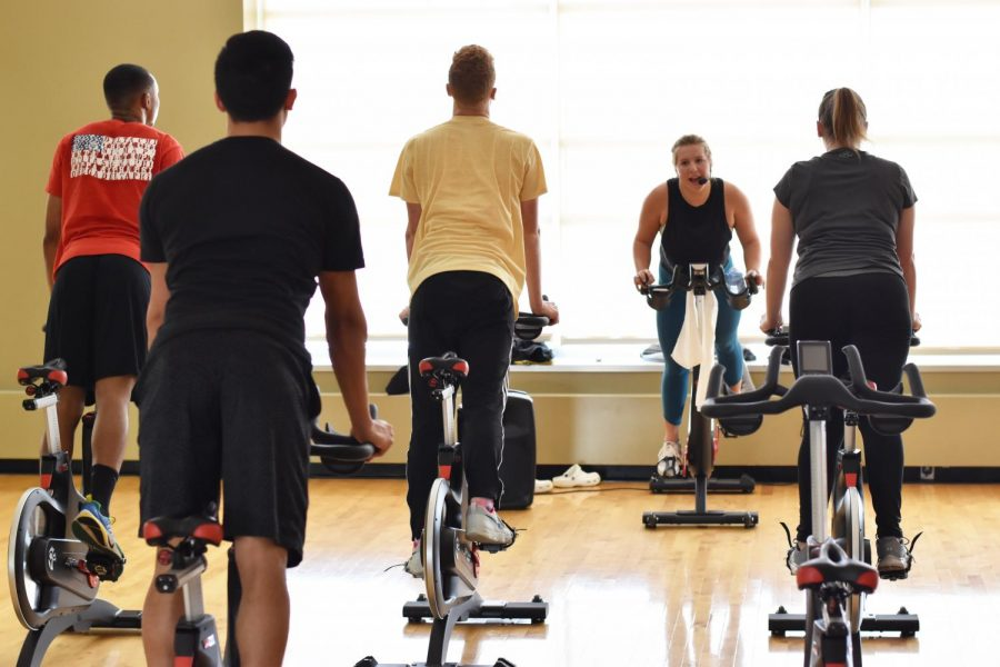 Participants recreated a small portion of Conner's cross country trek on stationary bicycles at the rec during the event.