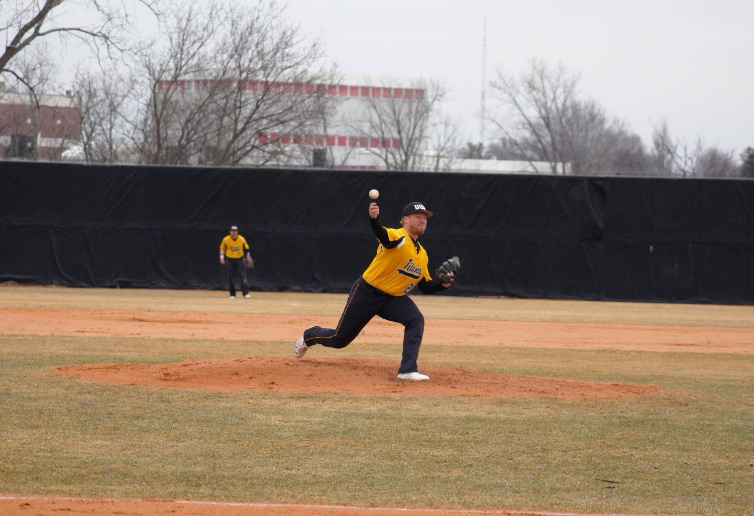 Senior UWO right-hander Jesse Sustachek delivers a pitch against UW-Stevens Point on April 12. On the season, Sustachek has appeared in six games, starting all six. He has earned two victories so far, pitching to a 5.04 ERA across 25 innings.