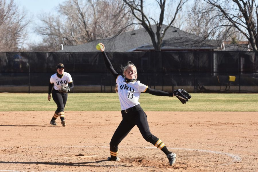 UWO junior Bailey Smaney delivers a pitch to a UW-River Falls batter on Wednesday. The Titans split the doubleheader with the Falcons losing 8-4 and winning 10-2 in six innings.