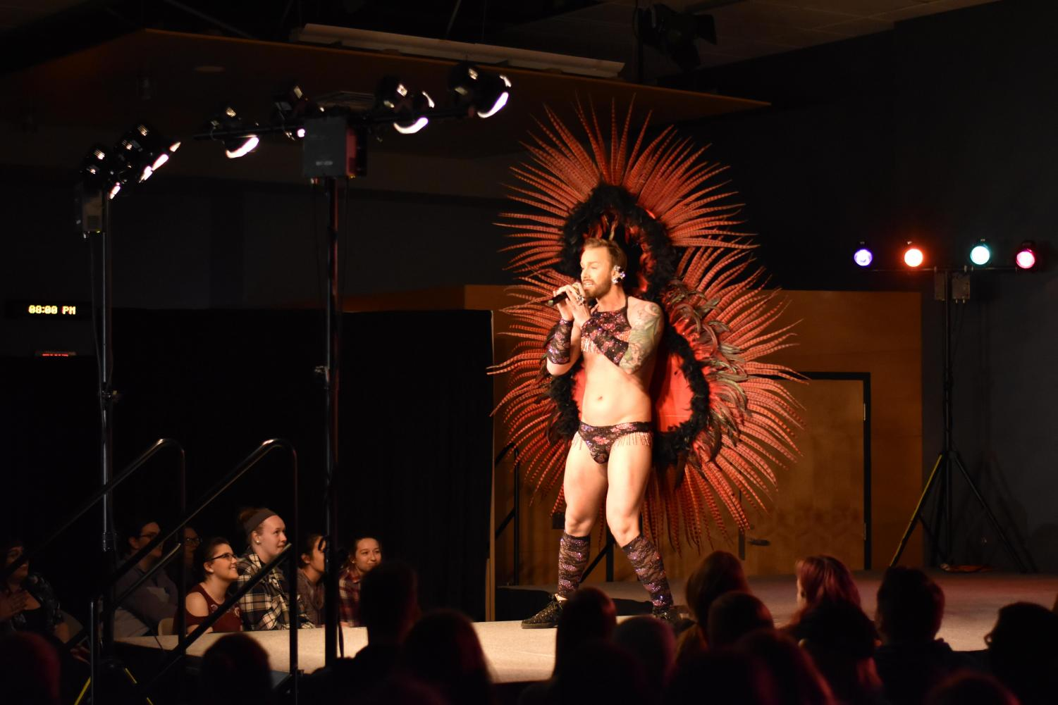 Taylor Ashton entertains the crowd during a performance for the drag show.