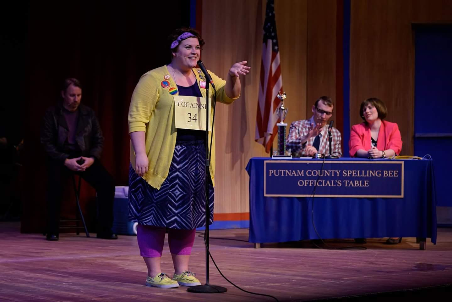 UWO graduation speaker Griffyn Albers acts in a spelling bee during a theatre performance.