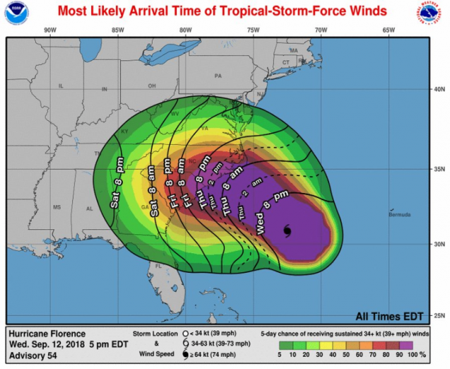 Pictured+above+is+a+map+of+the+states+affected+by+Hurricane+Florence.
