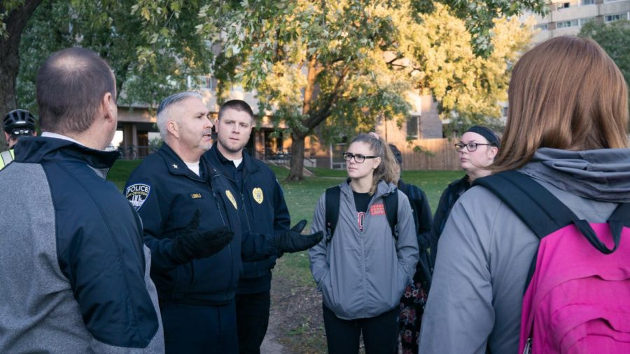 University Police Chief Kurt Leibold discusses ways to stay safe on and off campus and answers student's questions along the walk.