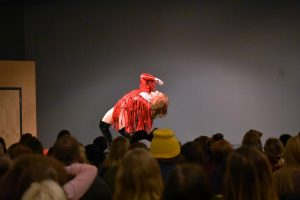 "UWO student Jacob Fulton bends over backward during his performance of ""Mama J"" Tuesday."