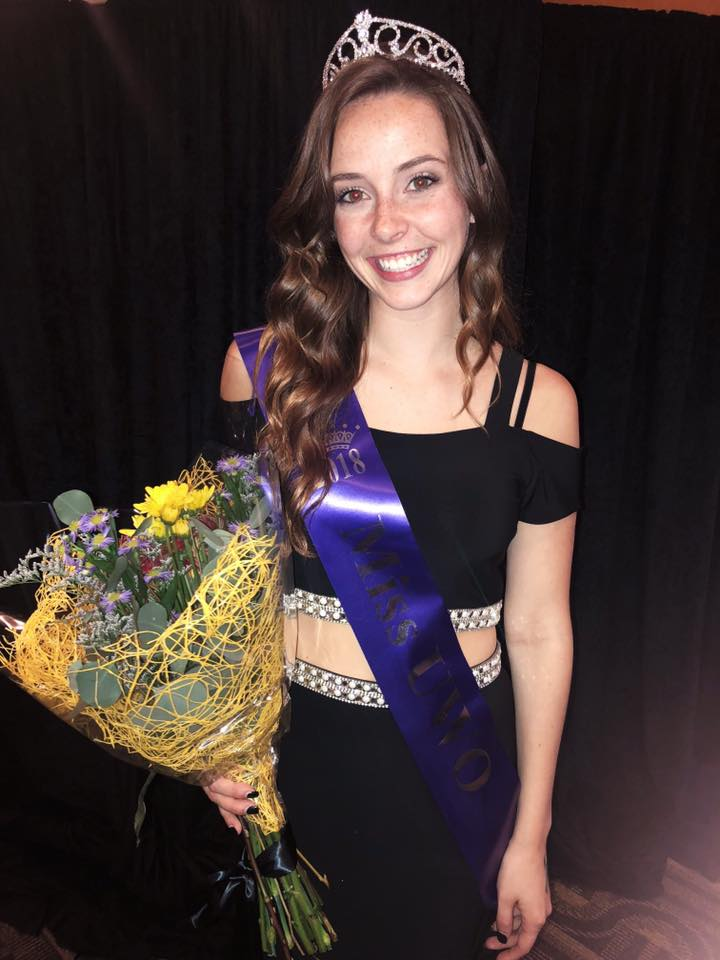 Miss UWO Eve Jewson poses with her crown and sash after competition.