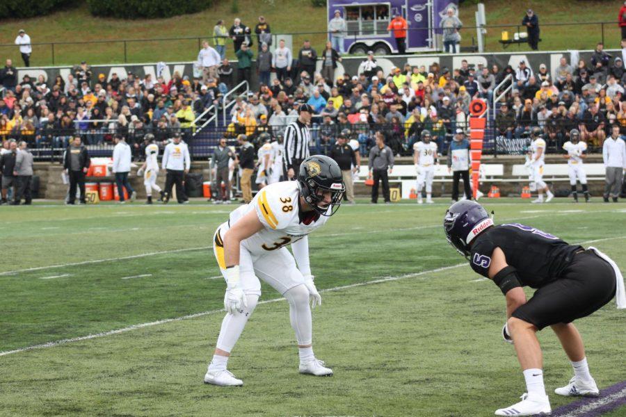 UWO sophomore defensive back Kollyn Beyer lines up across from a Warhawks wide receiver.
