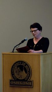 Monika Hohbein presents at a World War I event.