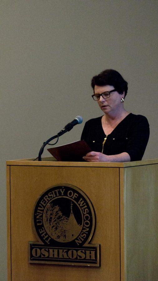 Monika Hohbein presents at a World War I event.