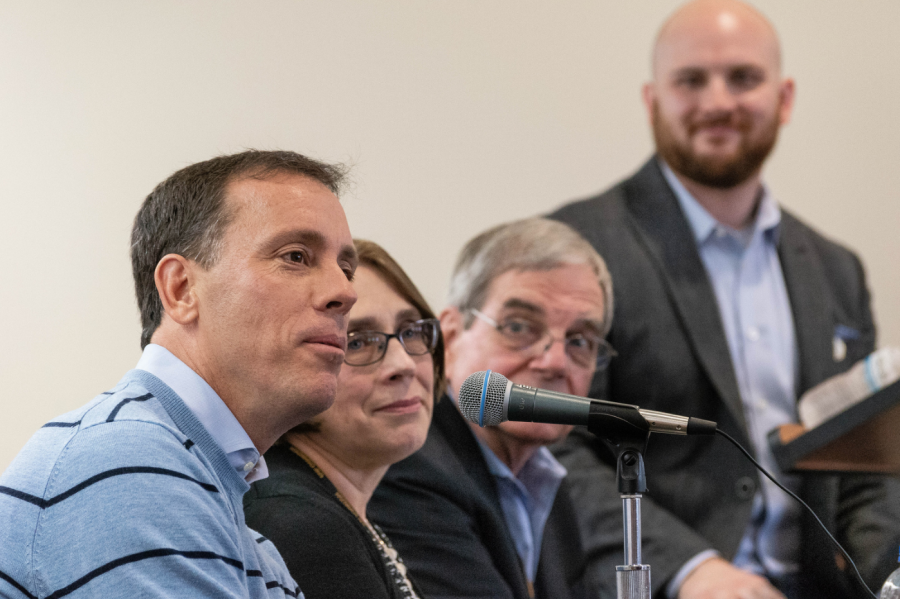 Jim VandeHei, Barbara Benish, Paul Anger and moderator Brody Karmenzind took part in the journalism department's fake news panel discussion on Friday.