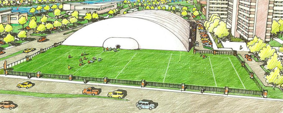 Pictured above is what the UWO Rec Plex will look like during the colder months with the dome up.