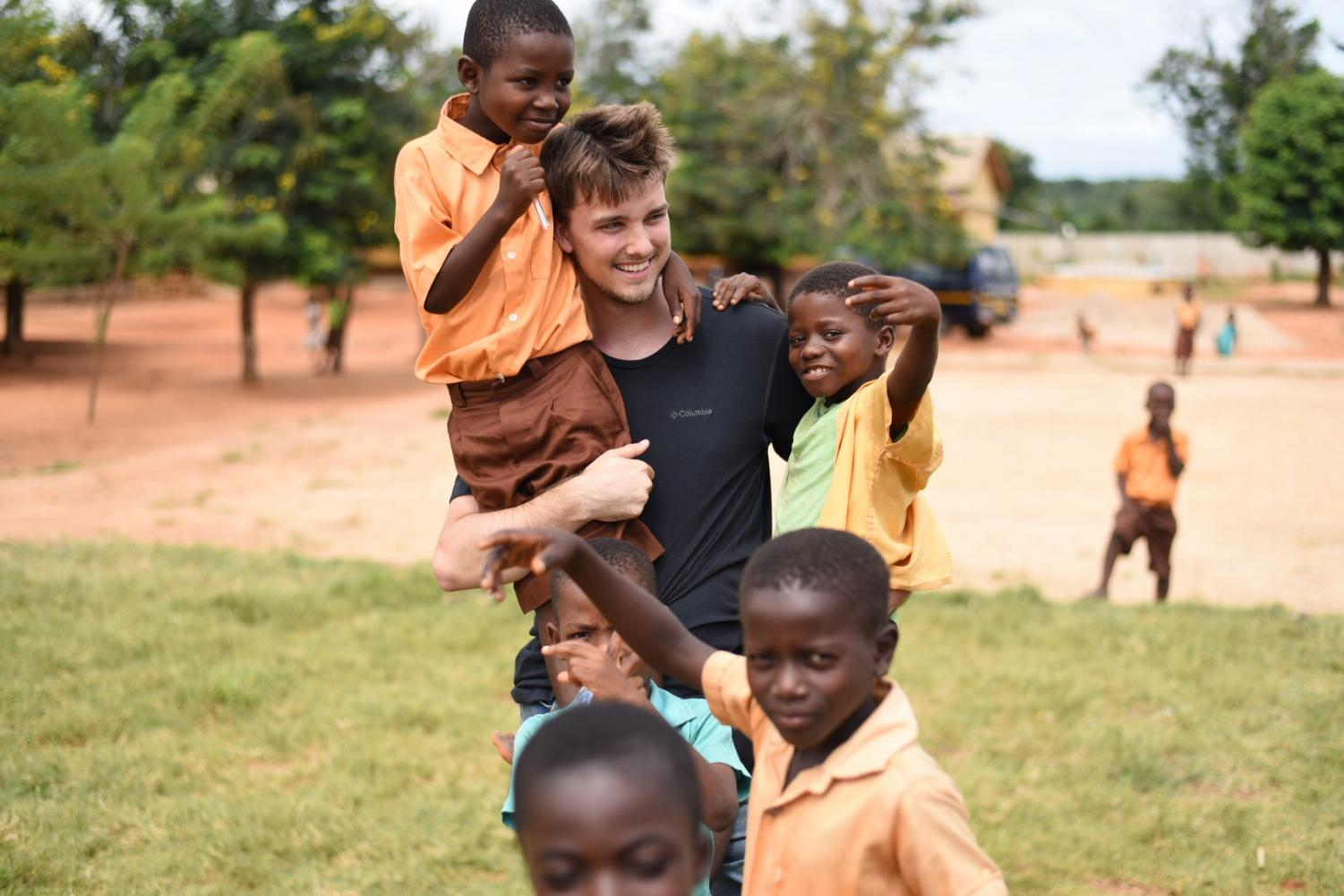 UW Oshkosh journalism radio/TV/film and public relations student Ryan Taylor gets to know the local kids while studying abroad.