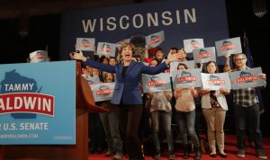 U.S. Sen. Tammy Baldwin reacts to winning.