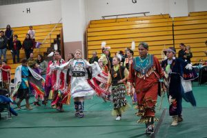 People participate in the UWO powwow, an American Indian gathering focused on dance, songs, family and friends.