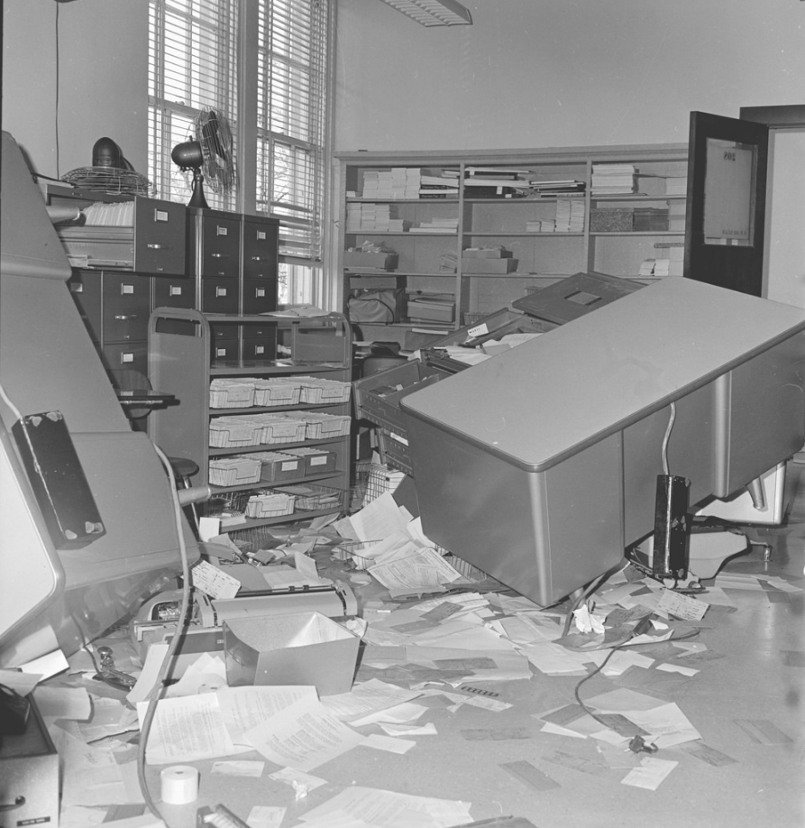 Pictured is the destruction that occurred in the office of Roger Guiles.