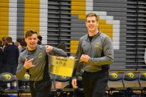 Titan senior wrestler Mark Choiski and junior Colten Cashmore pose with the Chanchellor's Cup.