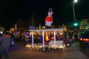 Frosty the snowman makes an appearance at the annual Oshkosh Holiday Parade.