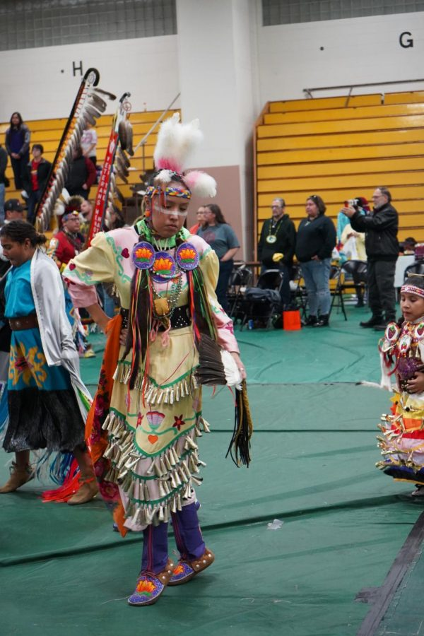 A dancer participates in the UWO Inter-Tribal Student Organization Wisconsin Hall of Fame Powwow in Albee Hall Saturday.