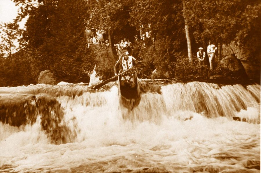 The dugout canoe descending the fall above was held in UWO's viewing room for years and recently donated to UWSP.