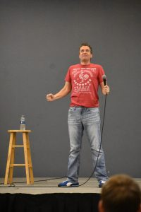 "Comedian Eric O'Shea has won awards and praise from Stephen Spielberg for his ""commercials"" routine."