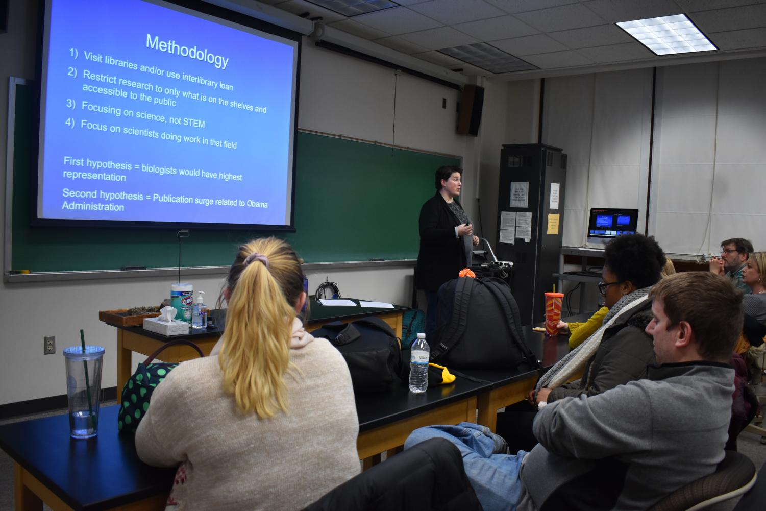 UW-Fox Valley professor Dr. Beth A. Johnson spoke last Thursday about the misrepresentation and invisibility of women geoscientists. Johnson's goal is to encourage more women to participate in the sciences.