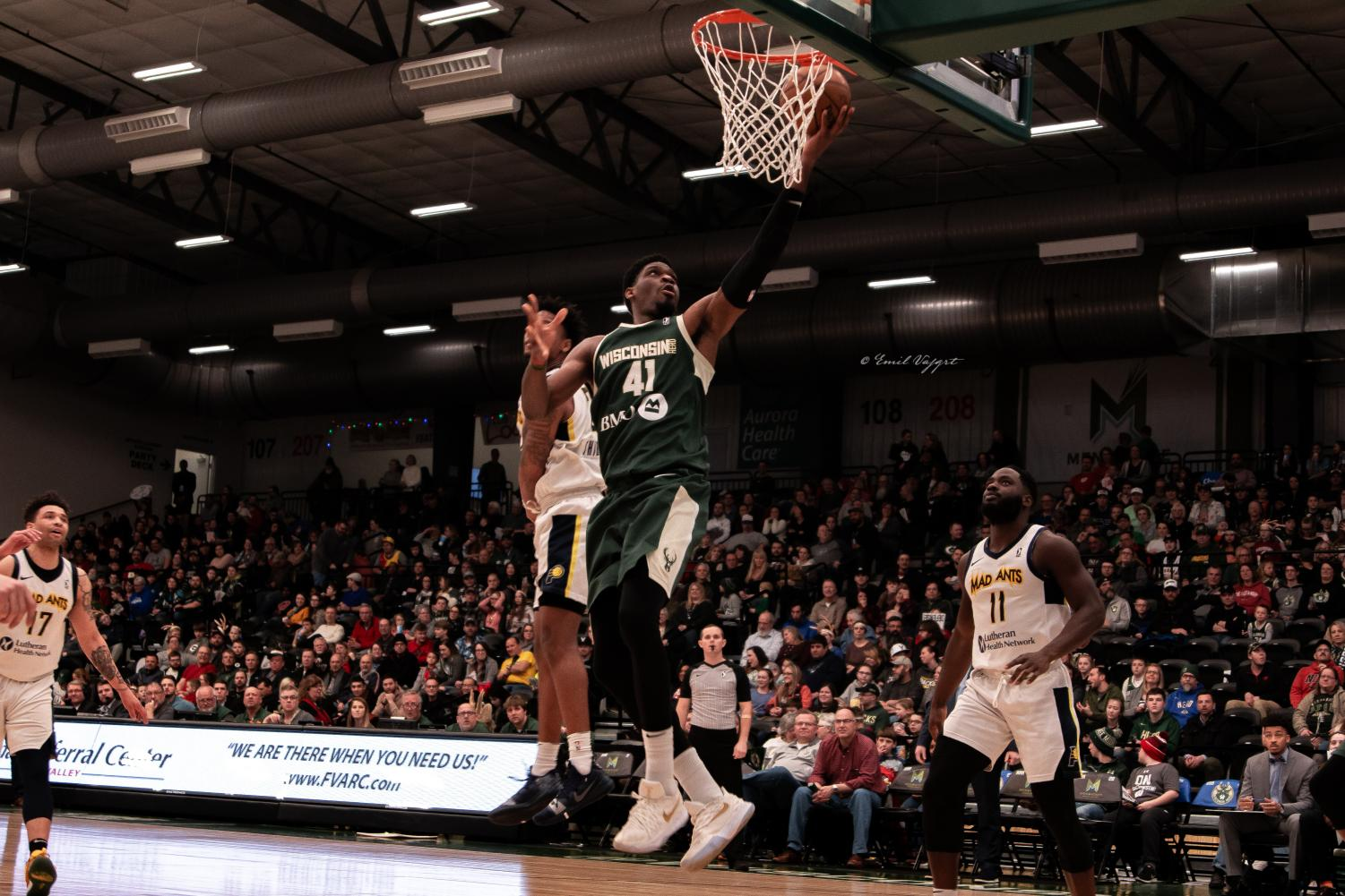 Herd center Shevon Thompson goes up for a lay-up as he finishes with a career-high 32 points and 18 rebounds.