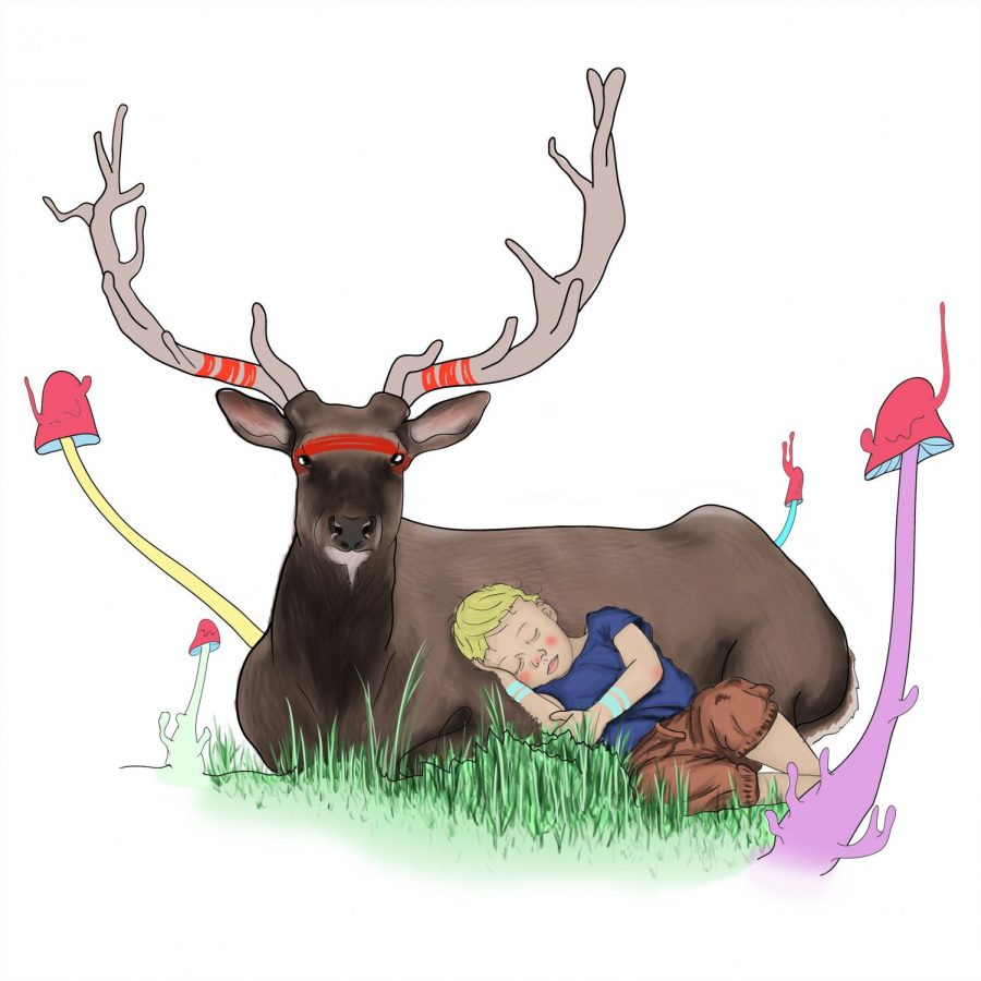 The nature child rests against a protective deer