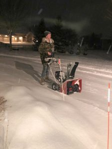 UWO students Colin Milligan and Eli Miller remove snow from locations on campus through College Cleaners, LLC, a service founded by Milligan in December 2018. Miller currently manages the company.