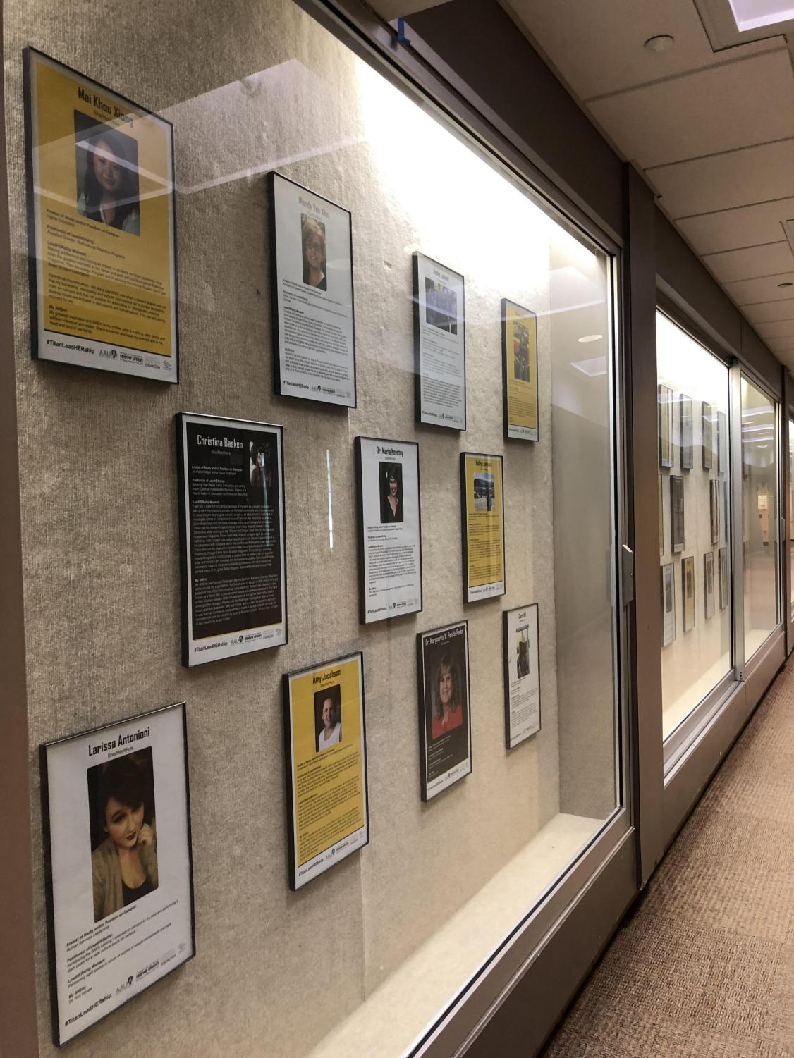 Plaques of leadHERs are displayed on the second floor hallway in Reeve Memorial Union in honor of Women's HERstory Month celebrated on campus.